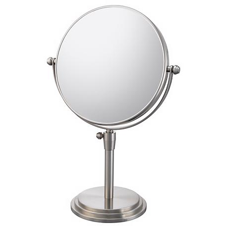 "Brushed Nickel Adjustable Vanity Stand 7 3/4"" Wide Mirror"