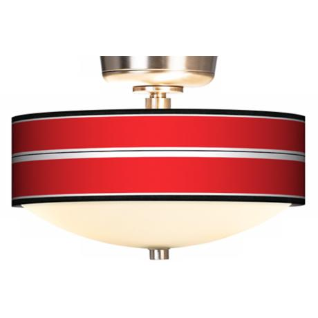Red Stripes Giclee Energy Saver Brushed Steel Fan Light Kit