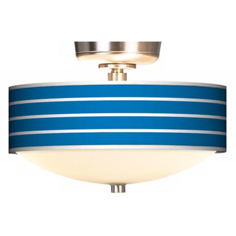 Bold Blue Stripe Giclee Energy Saver Brushed Steel Fan Light Kit