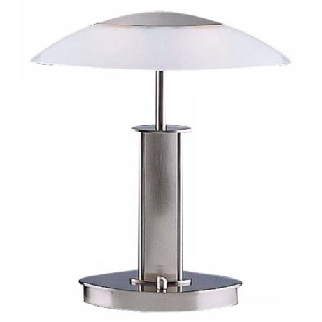 Mini Satin Nickel and White Glass Holtkoetter Desk Lamp