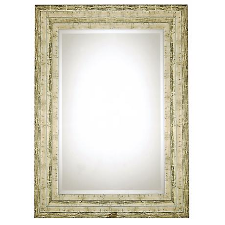 "Uttermost Hallmar Distressed Silver 36"" High Wall Mirror"