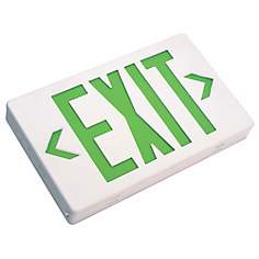 White with Green AC Only LED Exit Sign