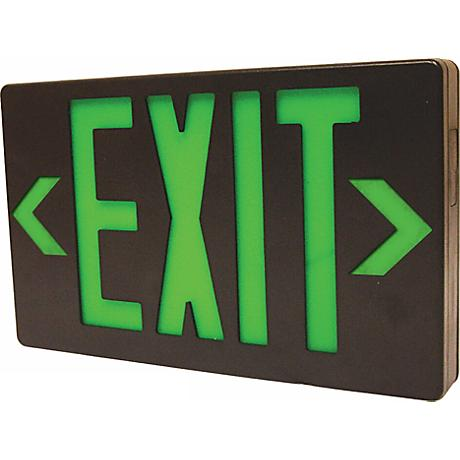 Black with Green AC Only LED Exit Sign