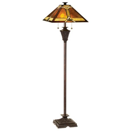 Mission Tiffany French Bronze Floor Lamp