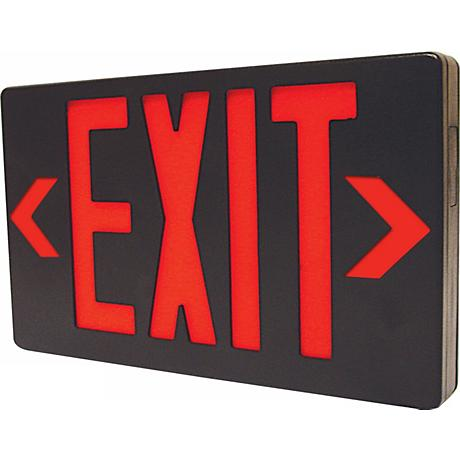 Black with Red LED Exit Sign with Battery Backup