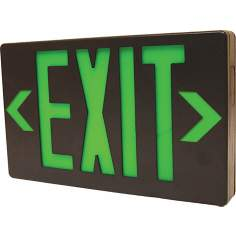 Black with Green LED Exit Sign with Battery Backup