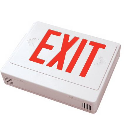 White with Red LED Exit Sign with Battery Backup