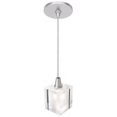 "LBL Rocks 3 1/4"" Wide Clear Cube Nickel Mini Pendant"