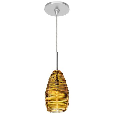 "LBL Vortex 4"" Wide Satin Nickel Amber Glass Mini Pendant"