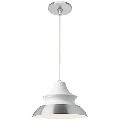 "Togan White 12""W Satin Nickel Fusion Jack Mini Pendant"