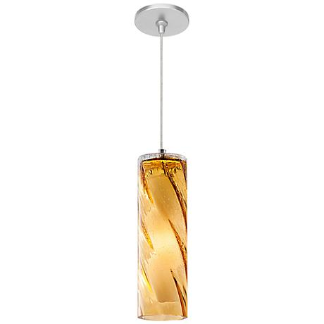 "LBL Paige FSJ 3 3/4"" Wide Amber Swirl Glass Mini Pendant"