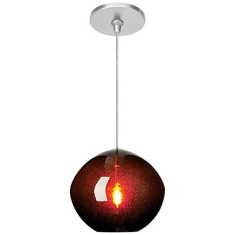 "Mini Isla Brown 7"" Wide Satin Nickel Pendant"