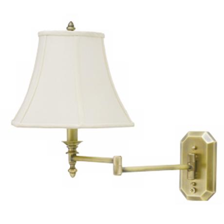 Antique Brass Bell Shade Plug-In Swing Arm Wall Lamp