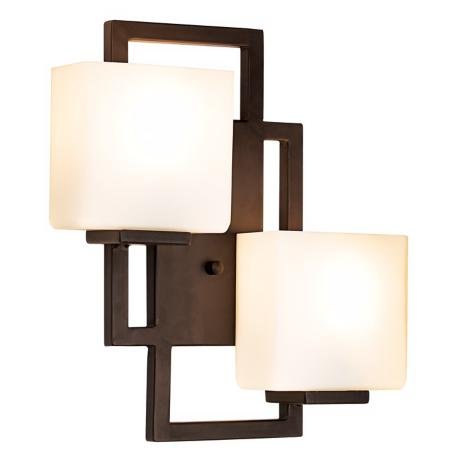 lighting on the square bronze 15 1 2 high wall sconce 47342. Black Bedroom Furniture Sets. Home Design Ideas