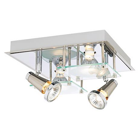 Chrome and Glass Halogen Light Ceiling and Wall Fixture