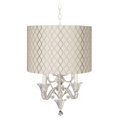 Embroidered Designer Shade White Beaded Mini Chandelier