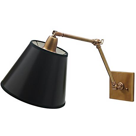 Weathered Brass Black Shade Hardwire Swing Arm Wall Lamp