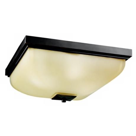 Olde Bronze with Umber Etched Glass Outdoor Ceiling Light