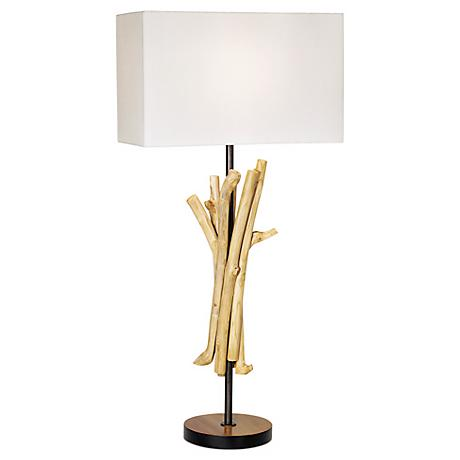 Natural Wood Bundle and Linen Shade Table Lamp
