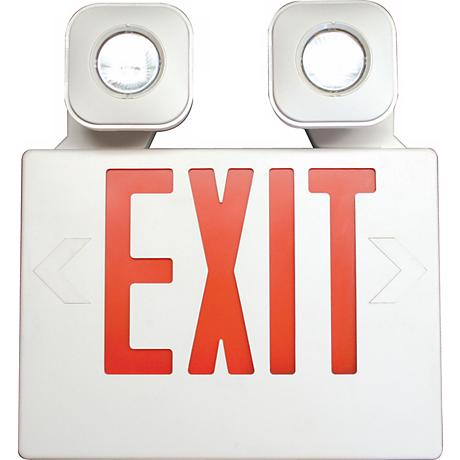 White with Red MR16 LED Emergency Light Exit Sign