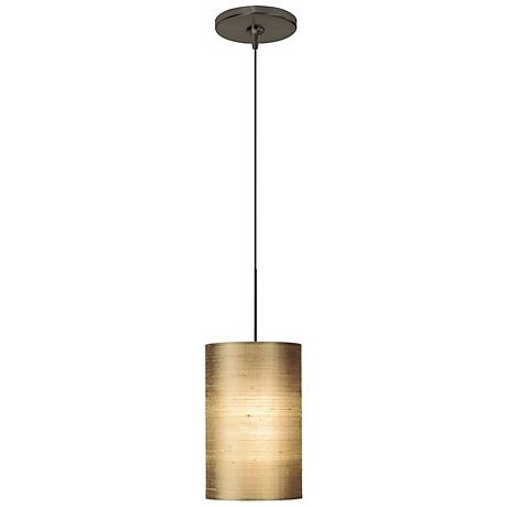 Fab Almond Silk Shade Bronze Tech Lighting Mini Pendant