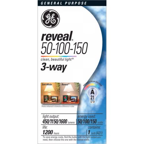 Ge 50 100 150 reveal 3 way light bulb 48712 3 way light bulbs
