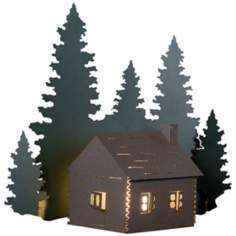 "Cozy Log Cabin 17"" High Outdoor Wall Light"