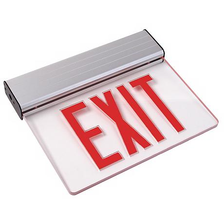 Clear Red LED Exit Sign with Battery Backup