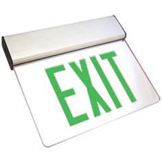 Clear Green LED Exit Sign with Battery Backup