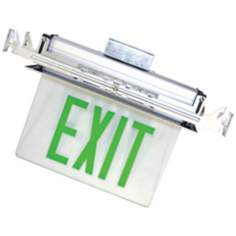 Recessed LED Green Exit Sign with Battery Backup