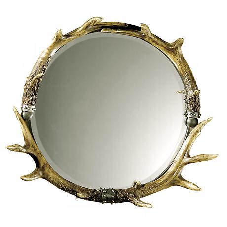 "Stag Horn Faux Antler 26"" Wide Wall Mirror"