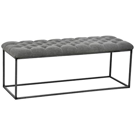 "Gramercy 48"" Wide Granite Fabric Bench"