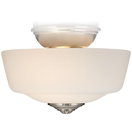 Brushed Nickel Frosted Glass Bowl Ceiling Fan Light