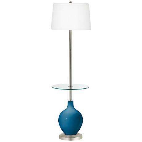 Mykonos Blue Ovo Tray Table Floor Lamp