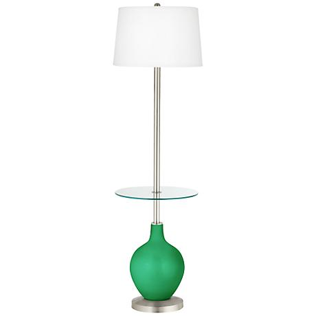 Aqua Marine Metallic Ovo Tray Table Floor Lamp