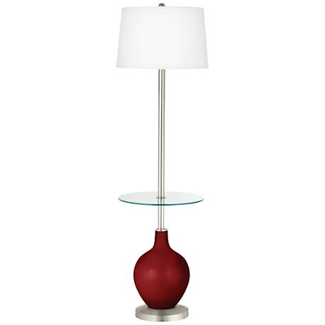 Cabernet Red Metallic Ovo Tray Table Floor Lamp