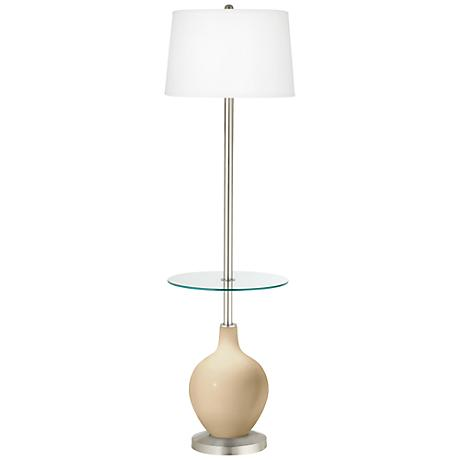Colonial Tan Ovo Tray Table Floor Lamp