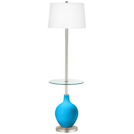 Sky Blue Ovo Tray Table Floor Lamp