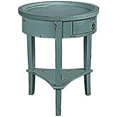 Neve Distressed Teal Accent Table