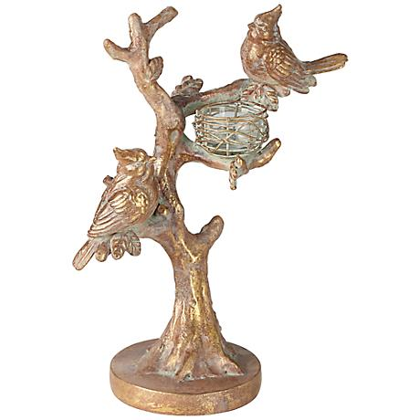 Nesting Birds Gold Tealight Candle Holder