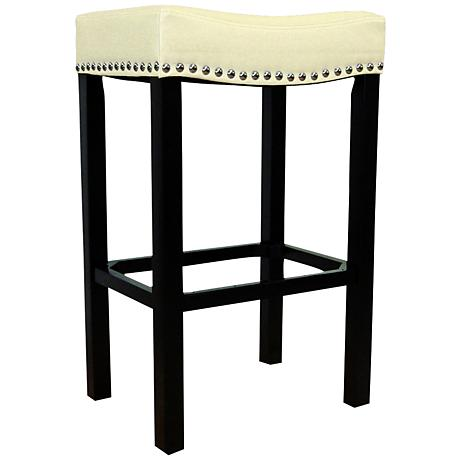 "Tudor 26"" Cream Faux Leather Stool"