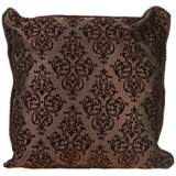 "Flocked 20"" Square Chocolate Decorative Throw Pillow"