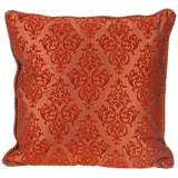 "Flocked 20"" Square Terracotta Decorative Throw Pillow"