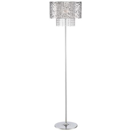 Possini Euro Chrome Nest Crystal Chandelier Floor Lamp 4D354