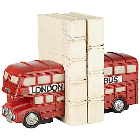 Red London Bus Bookends Set