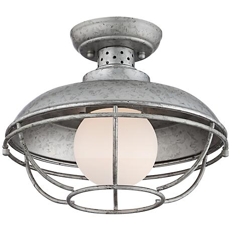 "Franklin Park Metal Cage 12"" Wide Steel Ceiling Light"
