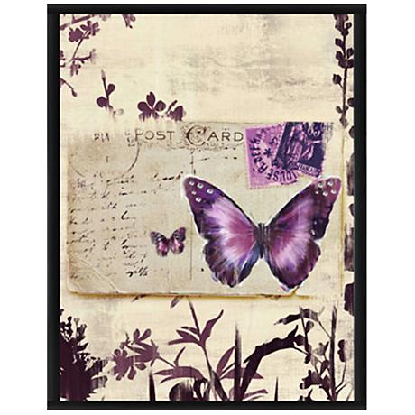 "Butterfly Postcard II 15 1/2"" High Framed Giclee Wall Art"