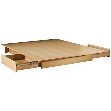 Step One Natural Maple Full/Queen Platform Bed w/ Drawers
