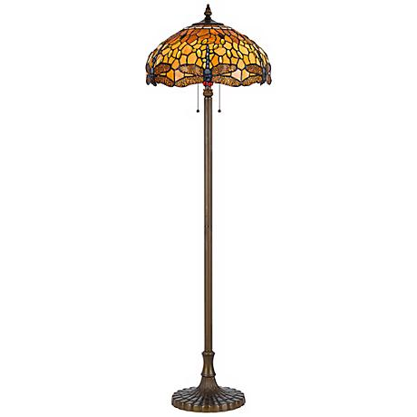 Golden Dragonfly Tiffany-Style Antique Brass Floor Lamp