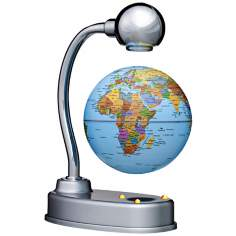 Levitating Illuminated Silver Desk Globe